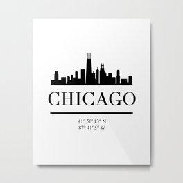 CHICAGO ILLINOIS BLACK SILHOUETTE SKYLINE ART Metal Print