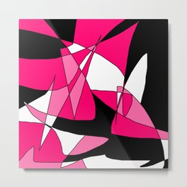 Windy Peaks - Abstract Pinks on Black Metal Print