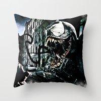 venom Throw Pillows featuring Venom  by D77 The DigArtisT