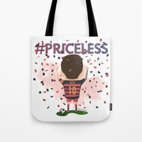 messi Tote Bags featuring Messi Priceless by Doctor Keros