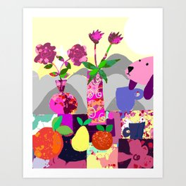 Lavender Dog with Fruits Art Print