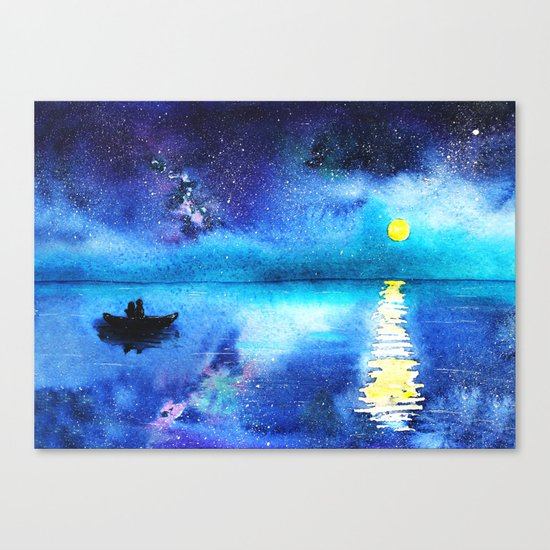 Under the moonlight || watercolor Canvas Print