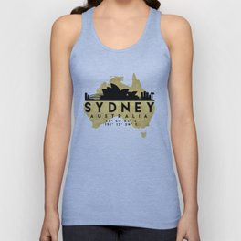 SYDNEY AUSTRALIA SILHOUETTE SKYLINE MAP ART Unisex Tank Top