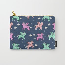 Pegasus pattern drawing cute kids neon print clouds unicorns by andrea lauren Carry-All Pouch