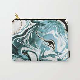 Liquid Teal Marble Carry-All Pouch