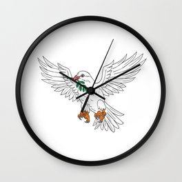 Dove With Olive Leaf Drawing Wall Clock