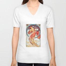 Alphonse Mucha Dance Art Nouveau Watercolor Painting Unisex V-Neck
