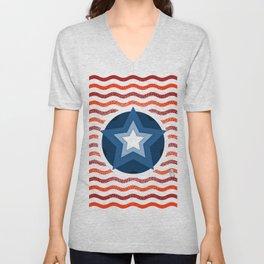 034 american flag interpretation Unisex V-Neck