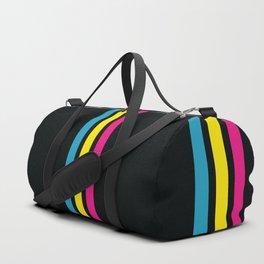 Stripes on Black Duffle Bag