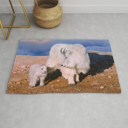Above The Clouds. Mother and Kid - A young  Mount Evans CO USA Rug