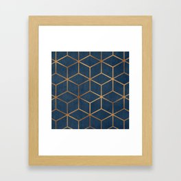 Dark Blue and Gold - Geometric Textured Cube Design Framed Art Print
