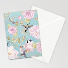 Pastel Teal Vintage Roses and Hummingbird Pattern Stationery Cards