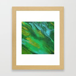 Square Green Abstract Acrylic Painting Framed Art Print
