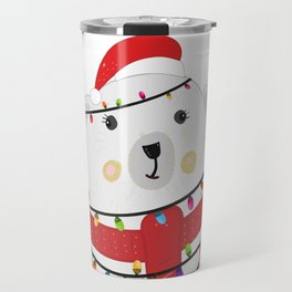 Polar bear with colorful light bulb. Happy new year greeting card Travel Mug