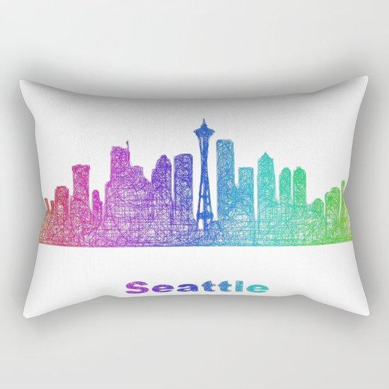 Rainbow Seattle skyline Rectangular Pillow