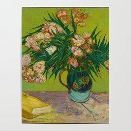 Copy of Vincent van Gogh Roses Floral Green Pink Poster