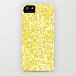 Modern trendy white floral lace hand drawn pattern on meadowlark yellow iPhone Case