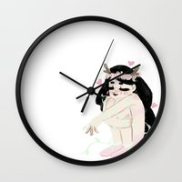 fawn Wall Clocks featuring fawn by beankun