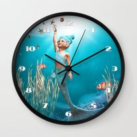 the little mermaid Wall Clocks featuring Little Mermaid by Simone Gatterwe