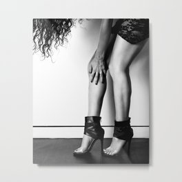 Legs in High-Heels standing on wall Metal Print