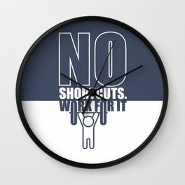 Lab No. 4 - No Shortcuts Work For It Gym Motivational Quotes Poster Wall Clock