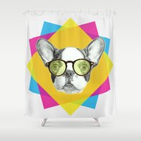 french bulldog Shower Curtains featuring French Bulldog by ScreamingMonkey