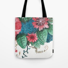 Ruby Botanical 3 Floral Watercolor Tote Bag
