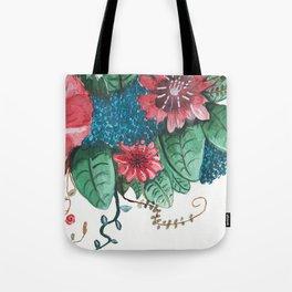Ruby Botanical 3 Floral Watercolor Tote Bag