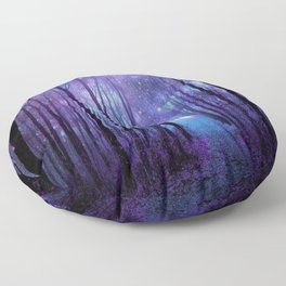 Fantasy Forest Path Icy Violet Blue Floor Pillow