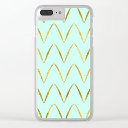 Mint Gold Foil 05 Clear iPhone Case