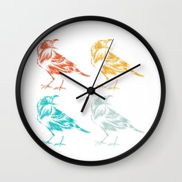 Colorful Raven Wall Clock