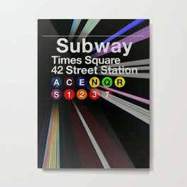 Times Square - 42nd Street Subway Station portrait painting sign - Manhattan - New York City Metal Print