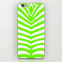 Neon Green and White Tropical Zebra Safari Stripes iPhone Skin
