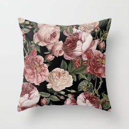 Vintage & Shabby Chic - Lush Victorian Roses Throw Pillow