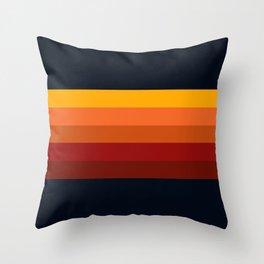 Navy & Orange Rainbow Stripes Throw Pillow