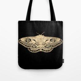 Gold moth on black Tote Bag