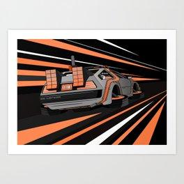 Back to The Future Delorean Time Flux - Burnt Orange Art Print