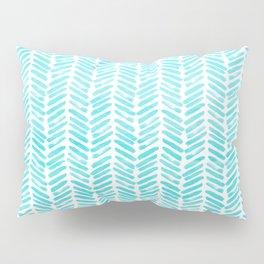 Handpainted Chevron pattern - small - light green and aqua teal Pillow Sham