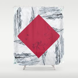 Red + Marble Shower Curtain