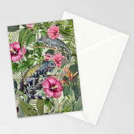 Jungle Reptiles In Tropical Vegetation Stationery Cards