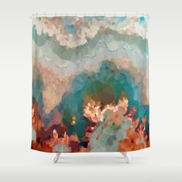 Turquoise Copper Agate Low Poly Geometric Triangles Shower Curtain