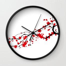 Japanese,sakura tree.Red cherry blossom flower. Wall Clock