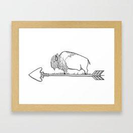 Bison on an arrow Framed Art Print