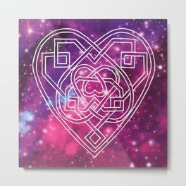 Pink Celtic Heart Galaxy Metal Print