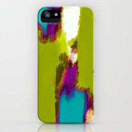 blue pink purple painting abstract with green background iPhone Case