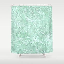 Mint Green Silk Moire Pattern Shower Curtain
