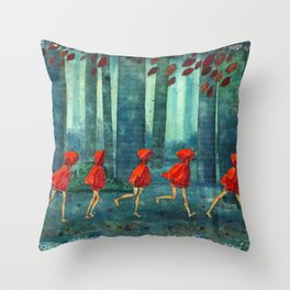 Five Little Red Riding Hoods 1 Throw Pillow