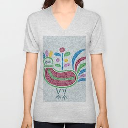 Mosaic tiles decorative pigeon Unisex V-Neck