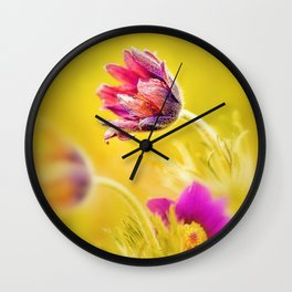 Spring Romantic Magenta Flowers on Yellow Background Wall Clock