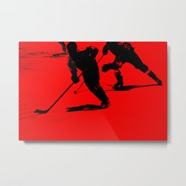 Red Light Break-Away - Hockey Players Metal Print